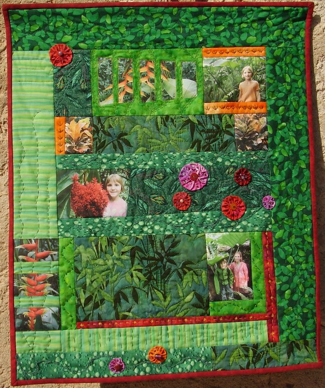 Quilt patchwork avec photos imprimées sur tissu