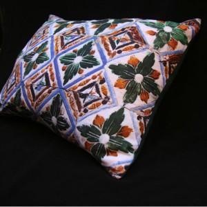Printed linen cushion Mosaic