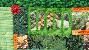 Patchwork vert tropical avec photos