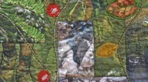 art quilt feuilles appliquées