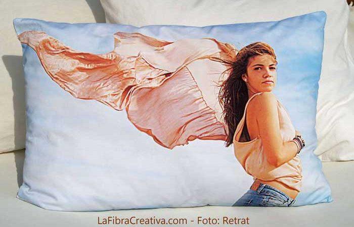 coussin avec impresion de photo sur tissu