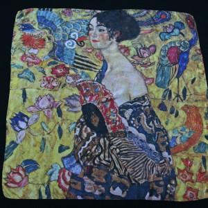 Klimt Silk scarf Lady with a fan - Fibra Creativa
