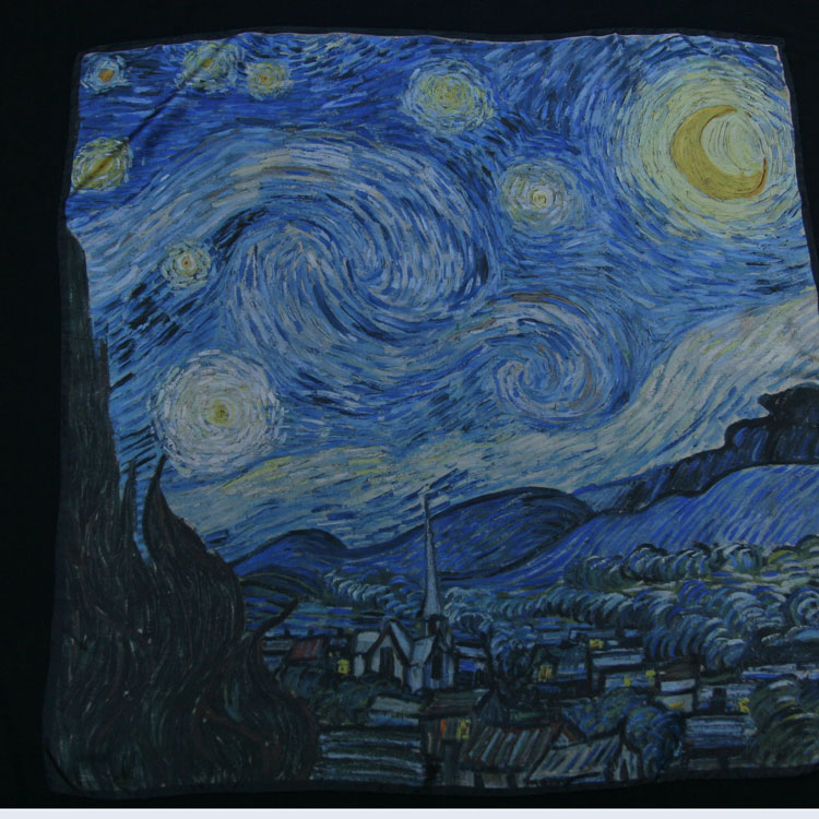 Van Gigh Nuit étoilée foulard soie carré soie Van Gogh ... 88f478f121d