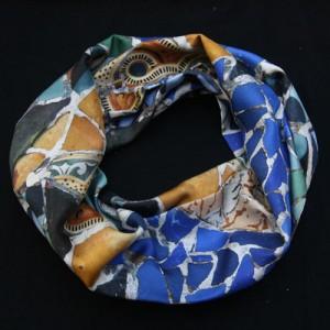 Circular scarf in Twill Silk custom printed mosaic