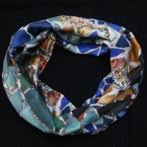 Circular silk scarf printed Mosaic