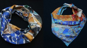 Fibra Creativa square scarf and circle scarf gaudi mosaic