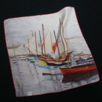 Pier Buyle small square silk scarf printed with boats