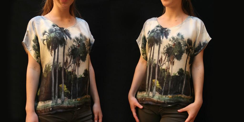 Blusa de seda estampado cuadro
