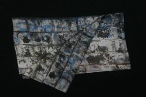 Fibra Creativa bufanda seda hombre gris azul lichen