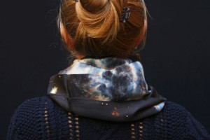 Fibra Creativa silk circle scarf deep space print