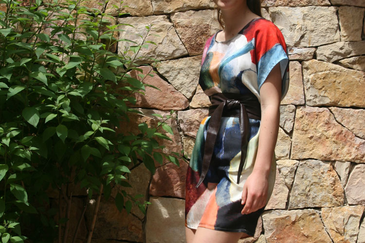 Silk dress printed with expressionist painting