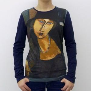 Long sleeve cotton T-shirt Modigliani portrait print Fibra Creativa