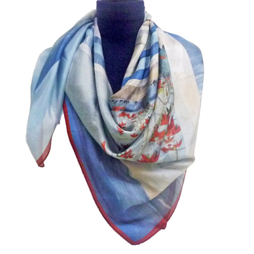 Poinsettia extra large square scarf in silk gauze, Florida collection Fibra Creativa