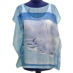 custom printed silk poncho - Fibra Creativa