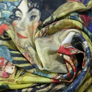 """Carré Klimt """"Dame avec un éventail"""""""