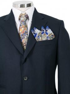 Corbata y pochette de traje para hombre en seda estampado Gaudi mosaico