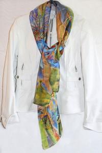 Florence Hirth étole de soie Lyrio Iris des marais