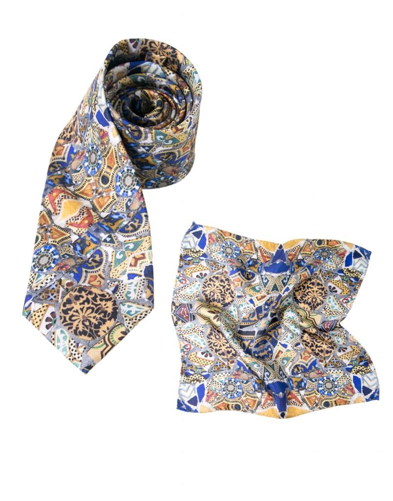 cravate et pochette homme Gaudi mosaique