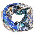 Snood en soie bleu jaune Gaudi Mosaique - Fibra Creativa