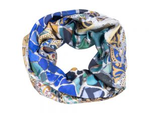 Infinity silk scarf blue yellow Gaudi Mosaic - Fibra Creativa