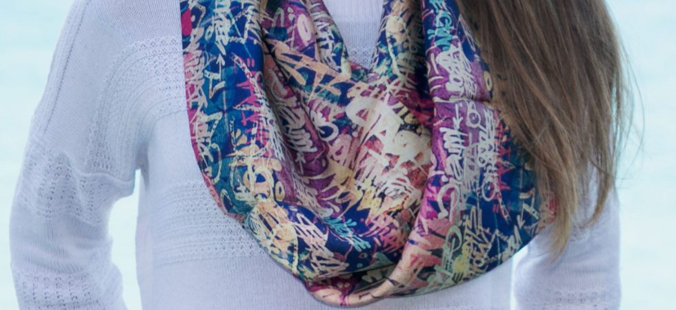 Infinity silk scarf pink, blue yellow Grafitti by Fibra Creativa