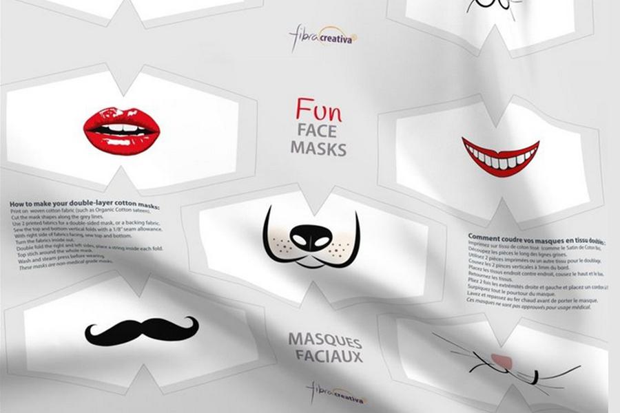 Fun faces fabric face mask panel by Fibracreativa
