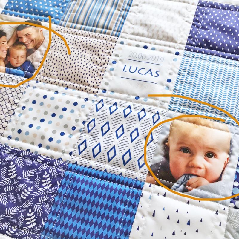 Couverture bébé en patchwork personnalisée de photos carrées 12x12 cm par Fibra Creativa