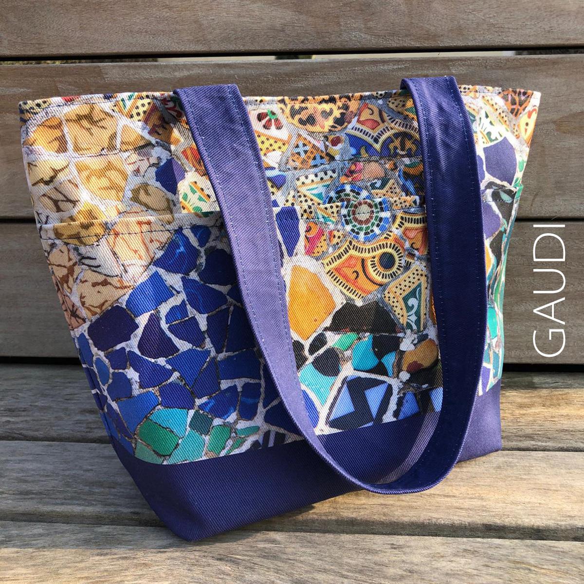 Gaudi modernist mosaic cut and sew tote bag