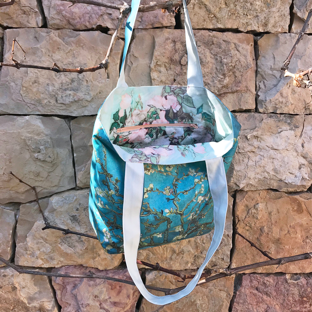 van gogh blossoming almond tree cut and sew totebag with inside pocket