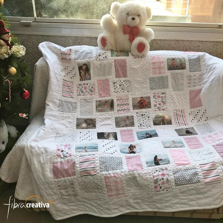 couverture en patchwork enfant personnalisée de photos imprimées sur tissu